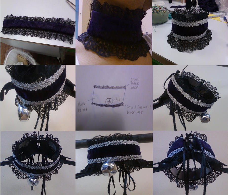Custom-made Lolita Neko Collar by darkkitten66