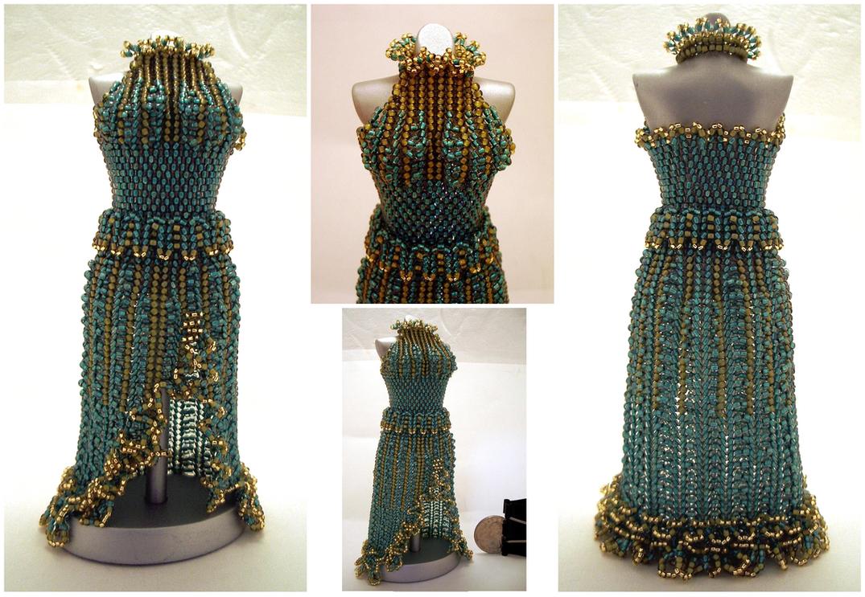 Jade SplitSkirt Bead Dress Short Waist by pinkythepink
