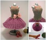 Dusty Rose ShortSkirt Bead Dress by pinkythepink