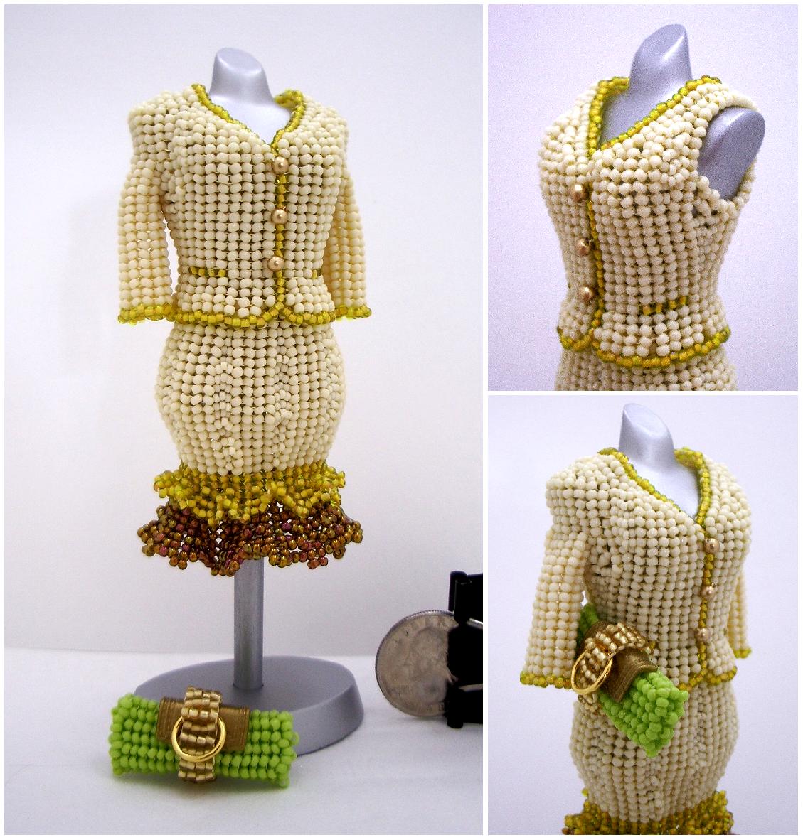Two-Piece Creamy Suit Bead Dress
