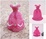 Pink Gown with Ribbons and Pearls Bead Dress