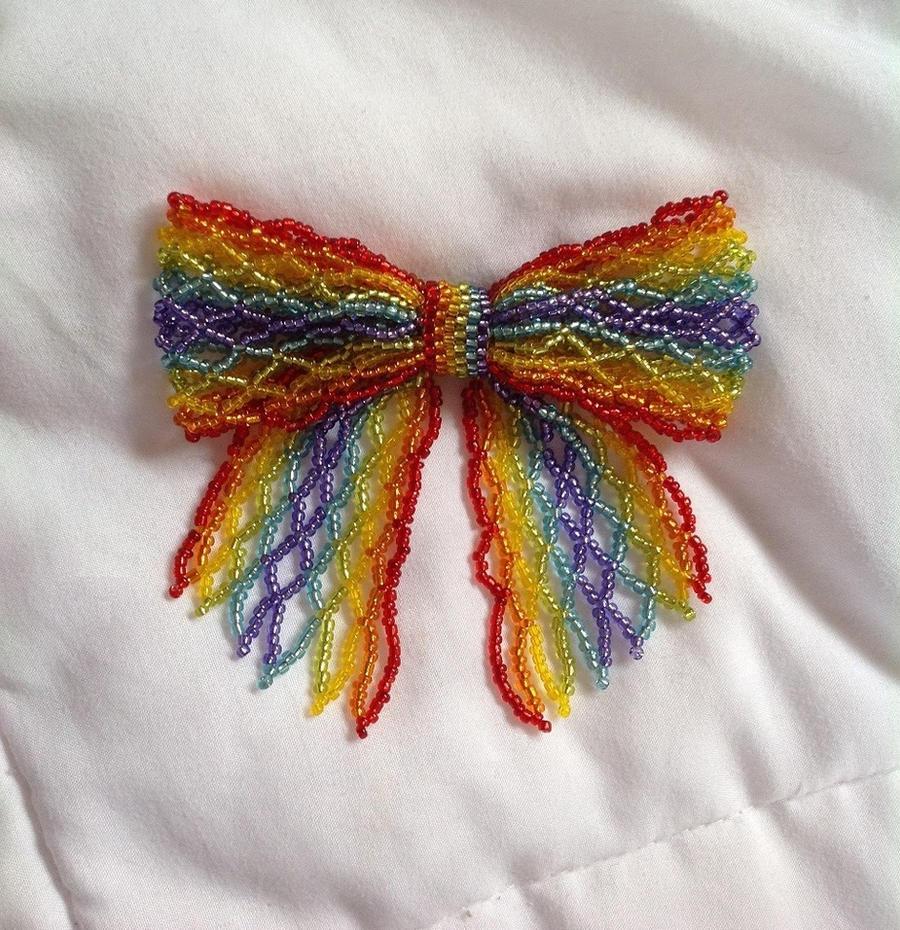 Rainbow Bead Ribbon Pin