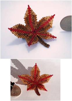 Beaded Leaf Pin - Autumn
