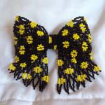 Black+Yellow Daisies Bead Ribbon Hairclip by pinkythepink