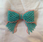 Western Turquoise+Coral Edged Bead Ribbon Pin by pinkythepink