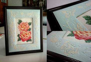 Rose Whisper - Roses with Butterfly Border Frame by pinkythepink