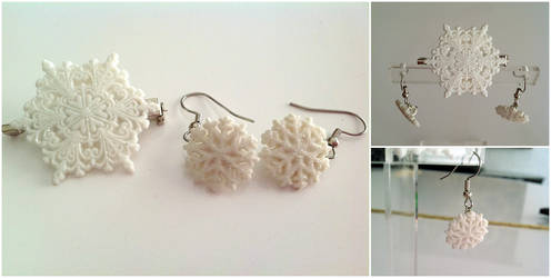 Snowflake Set - Earrings and Brooch by pinkythepink