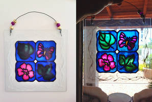 Faux Stained Glass Leaves, Butterfly, Flower