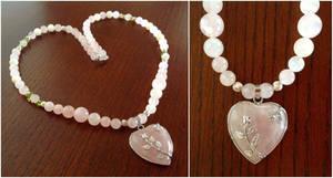 Rose Heart Necklace - Pink Rose Quartz