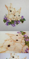 Cream Bunny Duo on Purple Flower Bed by pinkythepink