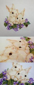 Cream Bunny Duo on Purple Flower Bed