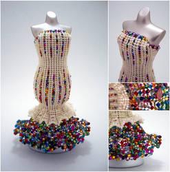Cream and Rainbow Confetti Mermaid Bead Dress