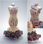Cream and Rainbow Confetti Mermaid Bead Dress