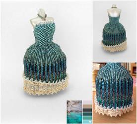 Mystical Ocean Ball Gown Miniature Bead Dress