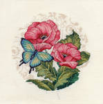 Blue Butterfly Beauty on Pink Flowers by pinkythepink