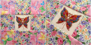Quilted, Xstitched, Beaded Butterfly Pillow