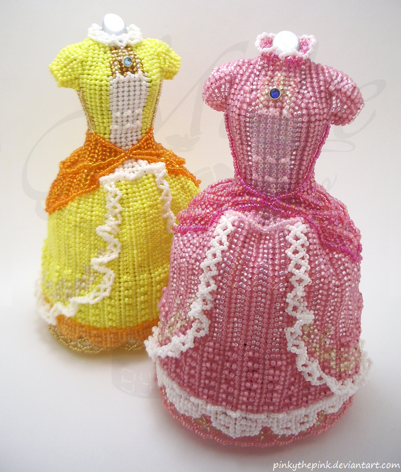 Princess Peach and Daisy Super Smash Bead Dresses by pinkythepink