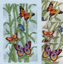 Vibrant Butterflies on Bamboo