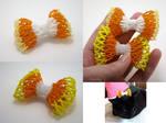 Candycorn Bead Ribbon Hairclip