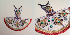 Paper Beads and Glitter Dress - Red