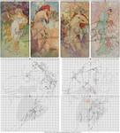 WIP 1 - Alphonse Mucha's The Seasons 1896 Xstitch