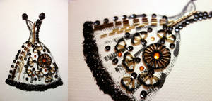 Paper Beads and Glitter Dress - Black