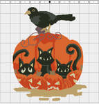 Pumpkin Doodle Cats Xstitch Pattern by pinkythepink