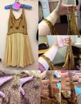 Restoration Work - Beaded Gold Dress by pinkythepink