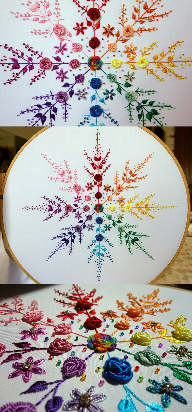 Floral Rainbow Snowflake by pinkythepink