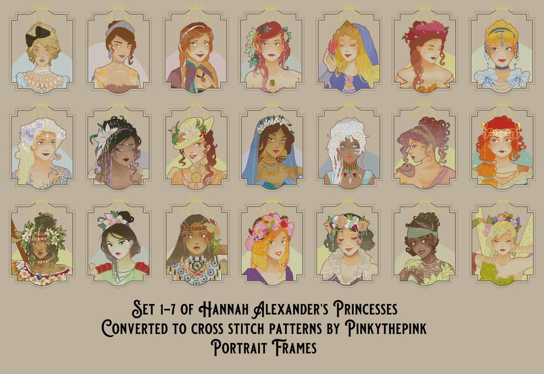 Set 1-7 Hannah Alexander Xstitch Portrait Frames