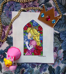 Princess Peach Stained Glass Window (Shiny) by pinkythepink