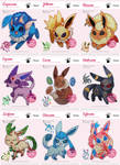 Full Set of Bunei's Eeveelutions Xstitch Patterns by pinkythepink