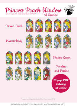 Princess Peach Stained Glass Window Variations