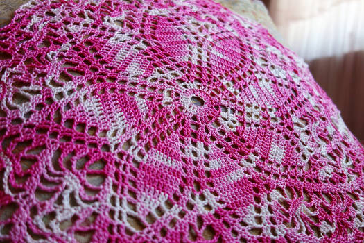Pink Daisy Doily (Detail)