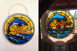 Faux Stained Glass Dolphin