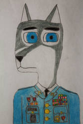 Military Wolf Portrait