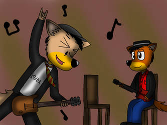 Father and son time (guitar practice) by ZachMFKAttack