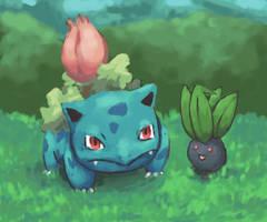 Ivysaur and Oddish by Psidra