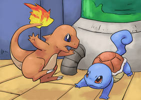 Charmander and Squirtle by Psidra
