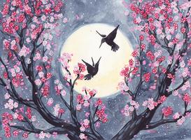 Cherry Blossom Hummingbirds