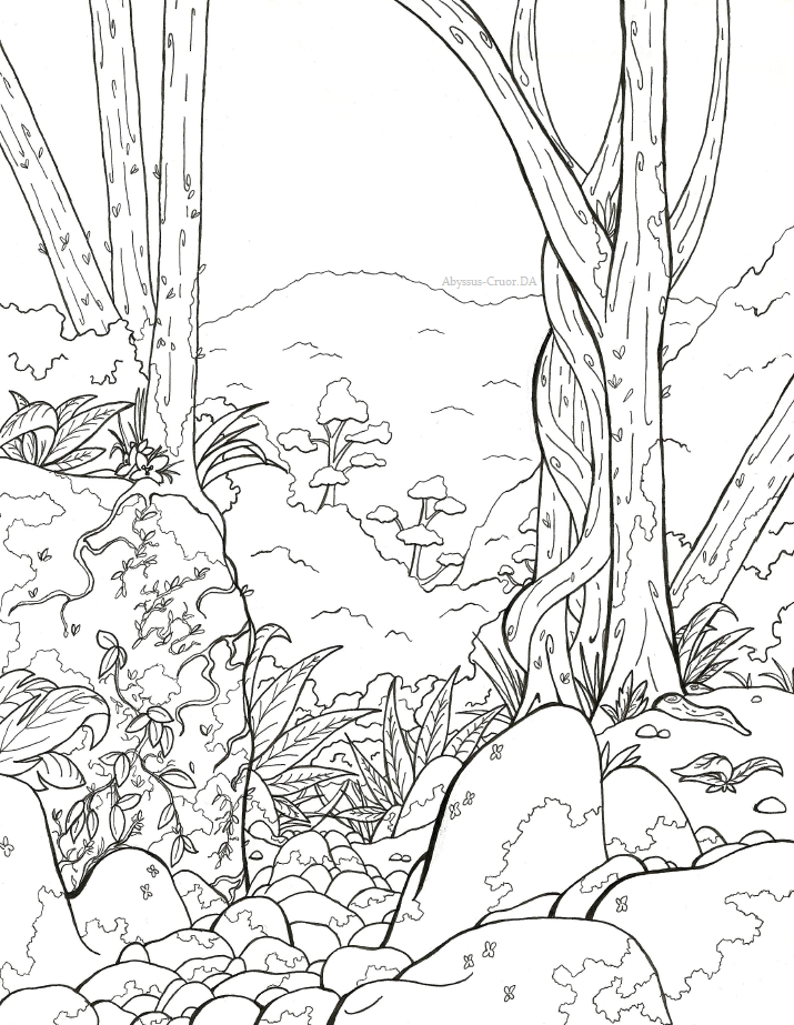 Line Art Forest : Rain forest by abyssus cruor on deviantart