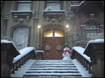 Snowy day in Brooklyn heights