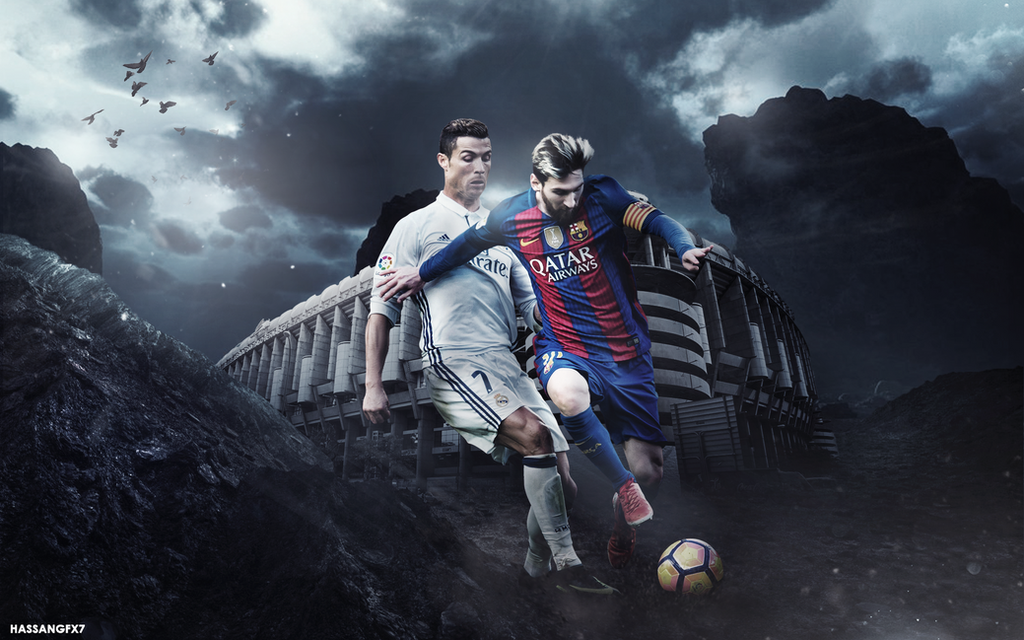 computer wallpapers of ronaldo: Ronaldo Against Messi Desktop Wallpaper By HassanGFX7 On