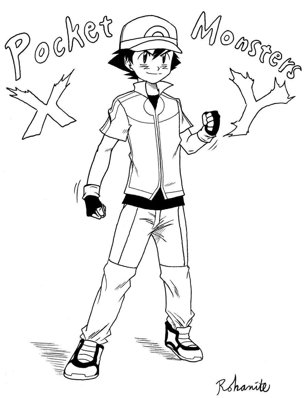 Ash ketchum xy outfit by rohanite on deviantart for Pokemon xy coloring pages
