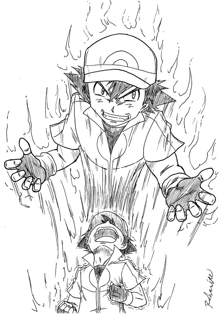 Pokemon xy ash possessed by rohanite on deviantart for Pokemon xy coloring pages