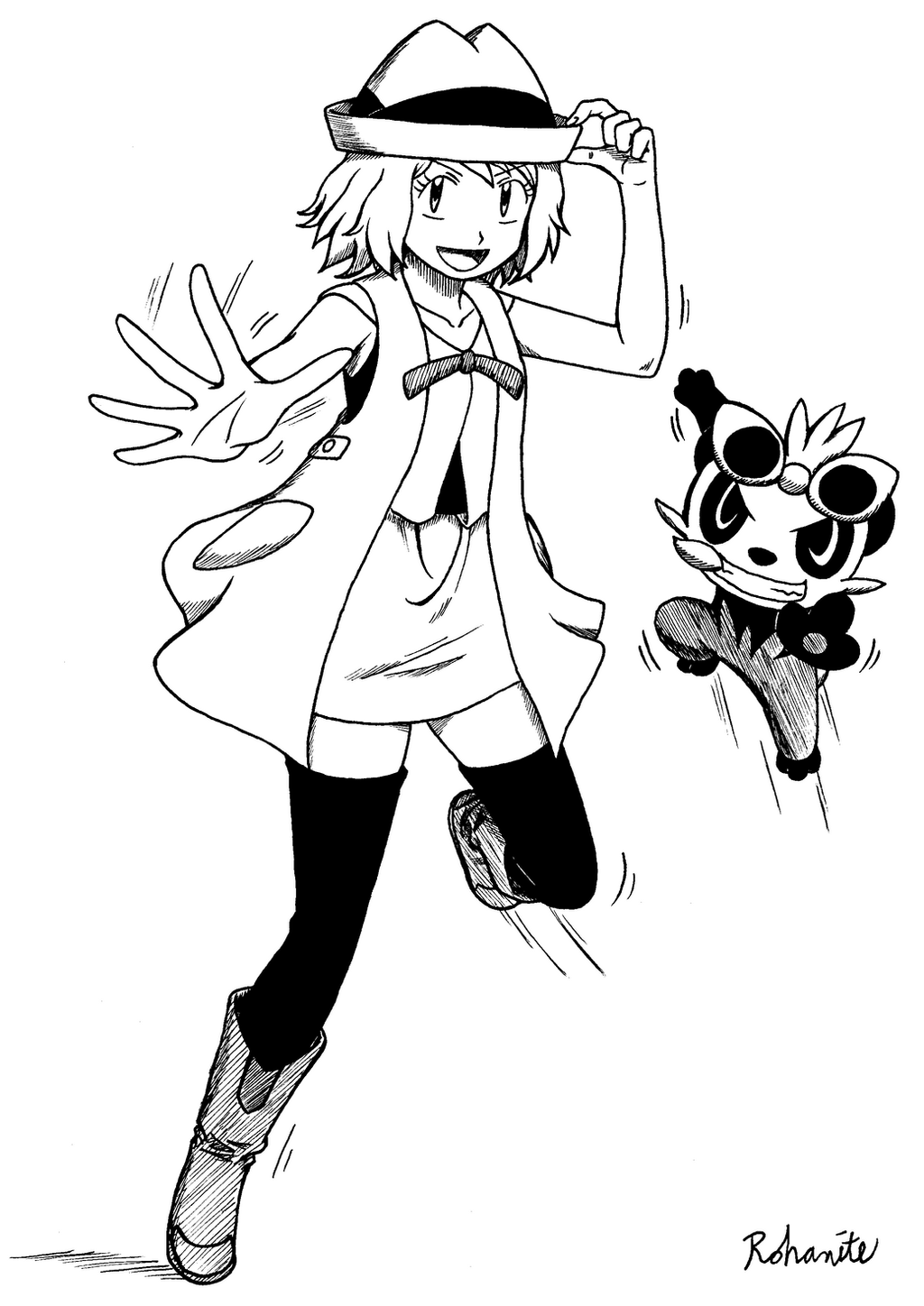 Pokemon coloring pages pancham - Serena And Pancham By Rohanite Serena And Pancham By Rohanite