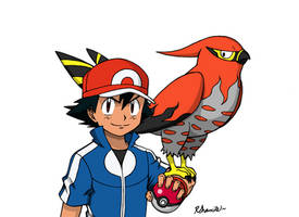 Ash and Talonflame by Rohanite