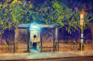 night  bus stop by b7000