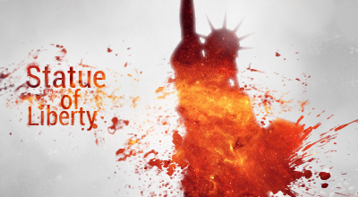 Burning Statue of Liberty by Apollo-Man