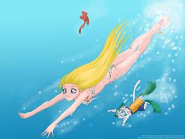 Diving With Minako And Artemis by OgawaBurukku